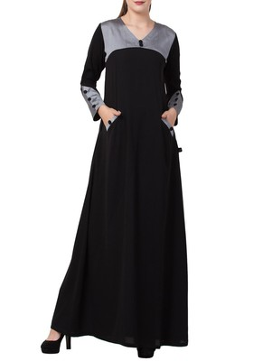 Black Black Abaya Dress With Front Pockets And Matching Stole