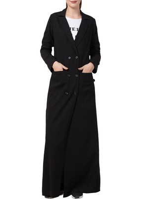 Black Double Breasted Coatin Full Length With Front Pockets