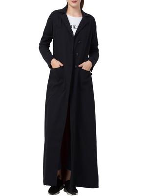 Black Full Length Coat For A Beautiful Evening
