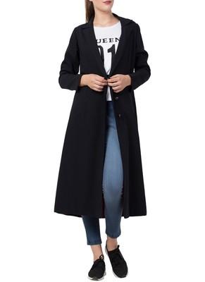 Black Knee Length Coat For Any Abaya