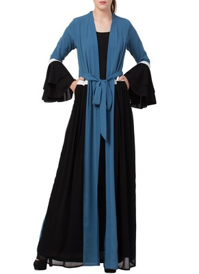 Dark-Aqua-Blue An Abaya Like Dress With Attached Shrug And A Belt In Multi Color