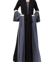 Grey An Abaya Like Dress With Attached Shrug And A Belt In Multi Color