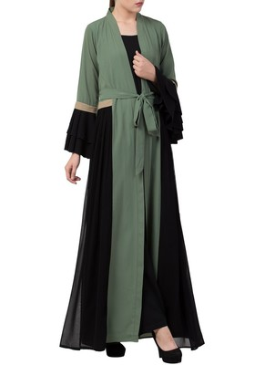 Green An Abaya Like Dress With Attached Shrug And A Belt In Multi Color