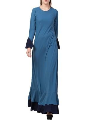 Dark-Aqua-Blue Dual Color Designer Abaya Dress In Biased Cut With Frills In Layers.