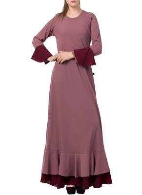 Onion-Pink Dual Color Designer Abaya Dress In Biased Cut With Frills In Layers.