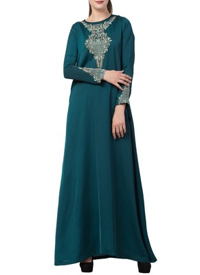 Teal Designer Abaya Like Dress With Hand Work On Yoke And Sleeves-Comes With A Matching Stole With Hand Work.