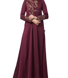 Burgundy Designer Abaya Like Dress With Hand Work On Yoke And Sleeves-Comes With A Matching Stole With Hand Work.