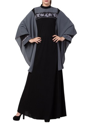 Black Kaftan Like Black Burqa With Hand Embroidery.