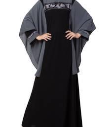 Black Kaftan Like Black Burqa With Hand Embroidery.