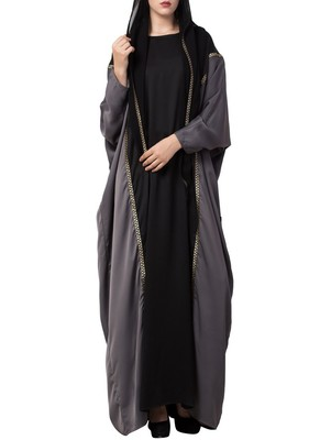 Black Designer Abaya With Lace Work And Attached Hood.