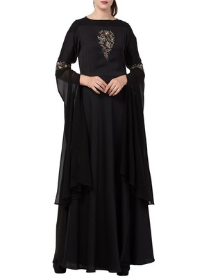 Black Modern, Modest And Elegant Dress With Hand Work On Yoke And Sleeves-Comes With A Free Matching Stole.