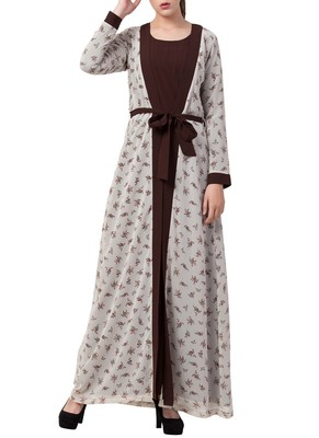 Multicolor Abaya Dress With Attached Shrug And A Matching Belt.