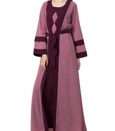 Onion-Pink Abaya Dress With Attached Shrug And A Matching Belt In Contrast Colours.
