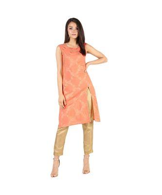 peach rayon stitched sleeveless kurtis