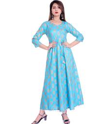 blue viscose stitched quarter_sleeve kurtis
