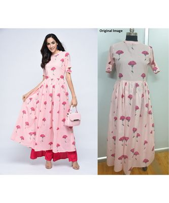 pink cotton stitched half_sleeve kurtis