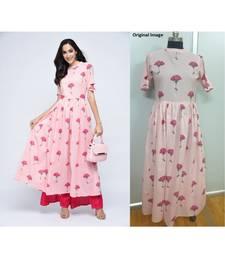 pink cotton stitched half_sleeve kurtis