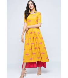 yellow viscose stitched half_sleeve kurtis