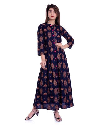 navy viscose stitched quarter_sleeve kurtis