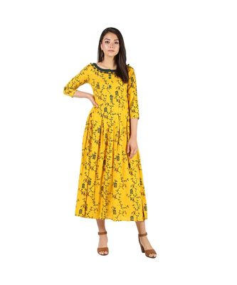 mustard rayon stitched quarter_sleeve kurtis