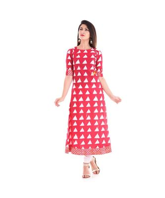 red cotton stitched half_sleeve kurtis