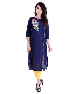 blue cotton stitched quarter_sleeve kurtis