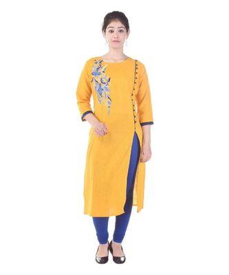 mustard cotton stitched quarter_sleeve kurtis