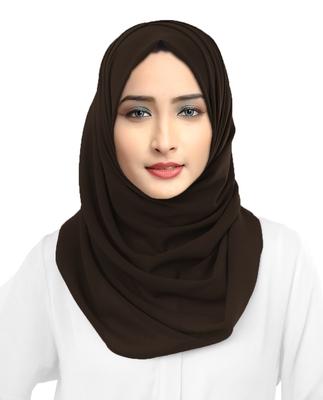 Casual Wear Brown Color Georgette Scarf Hijab Dupatta