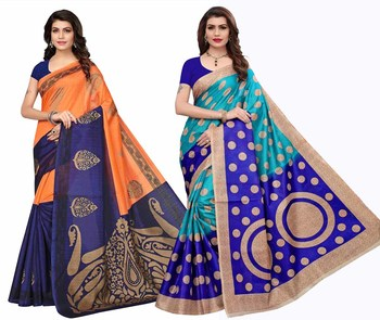 Combo Of 2 Printed Art Silk Saree With Blouse
