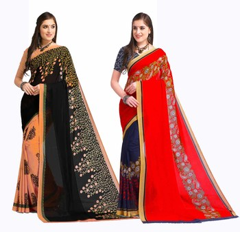 Combo Of 2 Printed Georgette Saree With Blouse
