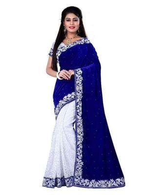 Blue velvet designer saree with blouse