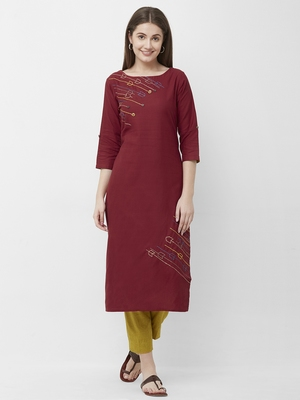 Maroon embroidered cotton kurtas-and-kurtis