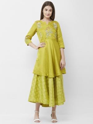 Green embroidered silk kurtas-and-kurtis