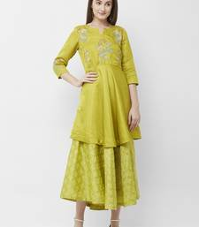 Green embroidered silk kurtas-and-kurtis