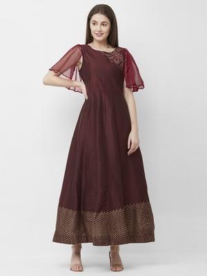 Maroon embroidered cotton kurtas-and-kurtis