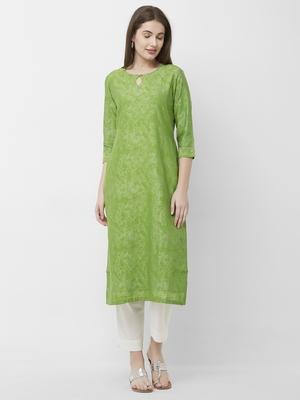 Green printed chanderi kurtas-and-kurtis