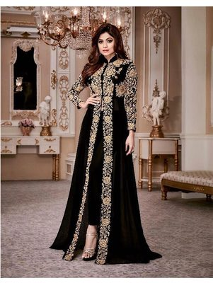 Black Gold Designer Wedding Wear Georgette Anarkali Suit