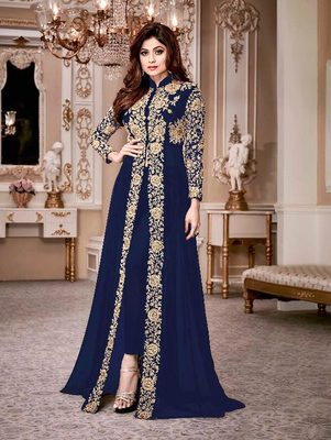 Navy Blue Gold Designer Wedding Wear Georgette Anarkali Suit