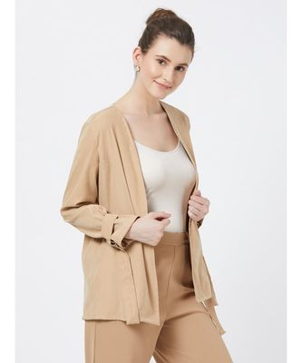 Women's Beige Suede finish Viscose Jacket