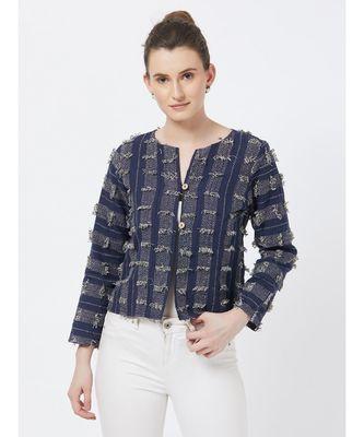 Women's Blue Fancy Jacquard Jacket