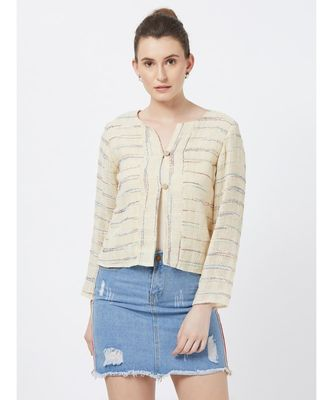 Women's Off-white Fancy Jacquard Jacket