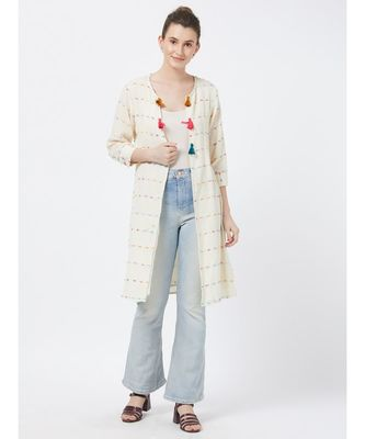 women's Off-white Fancy Cotton Jacket