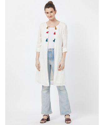women's Off-white Fancy Cotton Jacket