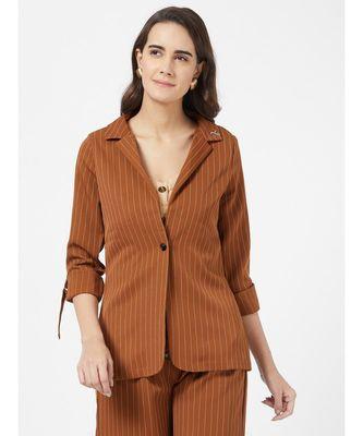 Brown Casual Stripe Blazer With Braoch