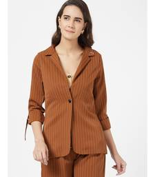 Brown Casual Stripe Blazer With Braoch