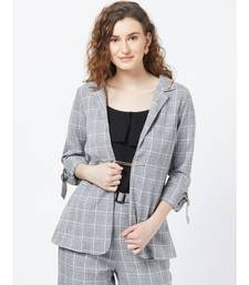 Black Casual Stripe Blazer With Braoch