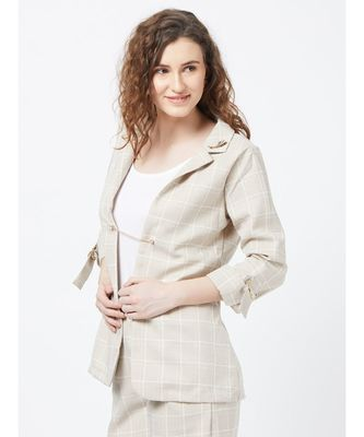 Beige Casual Stripe Blazer With Braoch