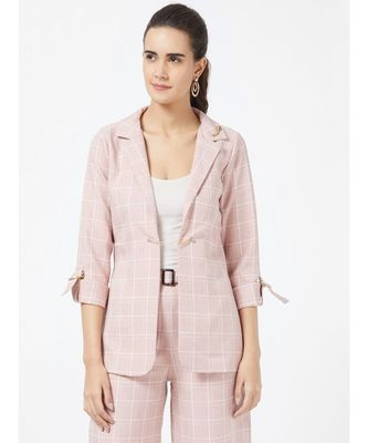 Pink Casual Stripe Blazer With Braoch