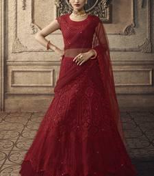 Maroon Bridal Net Lehenga Choli