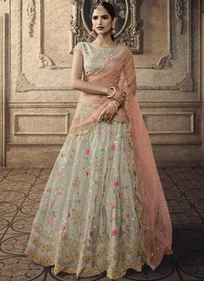Light Grey Bridal Net Lehenga Choli